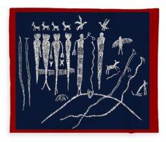 Southwest Petroglyph Shaman Ritual Fleece Blanket
