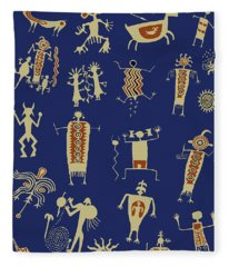 Southwest Rock Art Spirits Fleece Blanket