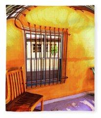 Southwestern Porch Distortion With Puple Floor Fleece Blanket