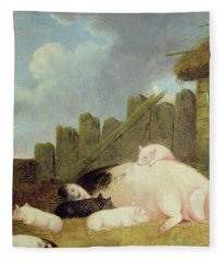 Sow With Piglets In The Sty  Fleece Blanket