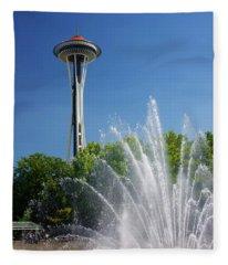Space Needle In Seattle Fleece Blanket