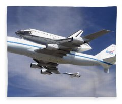 Space Shuttle Endeavour Over Lax With Hornet Chase Plane September 21 2012 Fleece Blanket