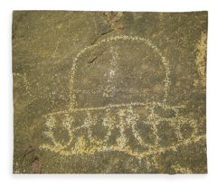 Spaceship Petroglyph Fleece Blanket
