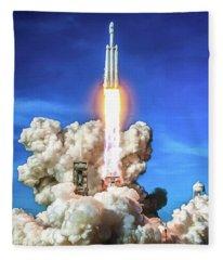 Spacex Falcon Heavy Rocket Launch Fleece Blanket