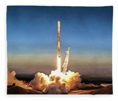 Spacex Iridium-5 Mission Falcon 9 Rocket Launch Fleece Blanket