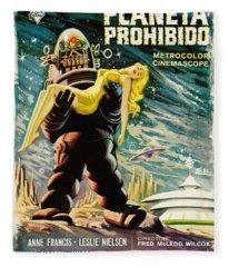 Spanish Version Of Forbidden Planet In Cinemascope Retro Classic Movie Poster Fleece Blanket