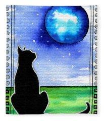 Sparkling Blue Bauble - Christmas Cat Fleece Blanket