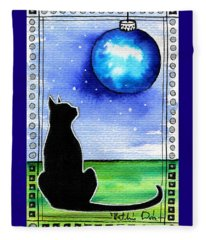 Sparkling Blue Bauble - Christmas Cat Fleece Blanket