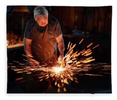 Sparks When Blacksmith Hit Hot Iron Fleece Blanket