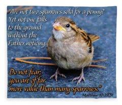 Sparrow Scripture Matthew 10 Fleece Blanket