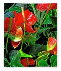 Spathiphyllum Flowers Peace Lily Fleece Blanket