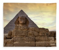 Sphinx And Pyramid At Dusk Fleece Blanket