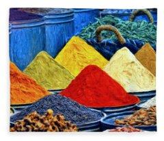 Spice Market In Casablanca Fleece Blanket