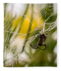 Spider And Spider Web With Dew Drops 04 Fleece Blanket