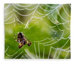 Spider And Spider Web With Dew Drops 05 Fleece Blanket