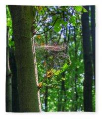 Spider Web In A Forest Fleece Blanket