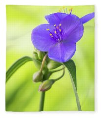 Spiderwort Wildflower Fleece Blanket