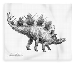 Stegosaurus - Dinosaur Decor - Black And White Dino Drawing Fleece Blanket