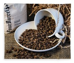 Spilling The Beans - Coffee Cup Fleece Blanket