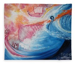 Seaworthy Viking Ships And Skilled Sailor's  Sail The Open Seas Fleece Blanket