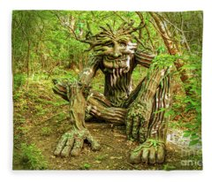 Spirit Of The Woods Sitting In Forest Dappled With Sun And Shade Fleece Blanket