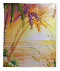 Splash Palm Fleece Blanket