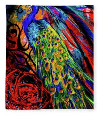 Splendor Of Love And Glory - Peacock Colorful Artwork Fleece Blanket