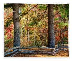 Split Rail Fence And Autumn Leaves Fleece Blanket