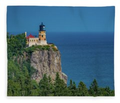 Split Rock Lighthouse View Fleece Blanket