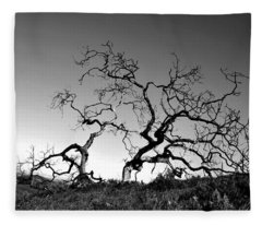 Split Single Tree On Hillside - Black And White Fleece Blanket
