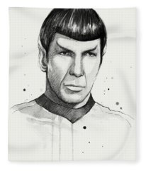 Spock Watercolor Portrait Fleece Blanket