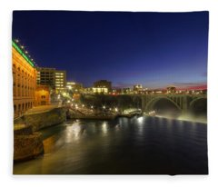 Spokane Falls At Night Fleece Blanket