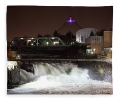 Spokane Falls Night Scene Fleece Blanket