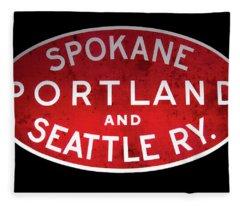 Spokane, Portland And Seattle Railway Sign  Fleece Blanket