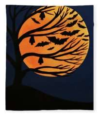 Spooky Bat Tree Fleece Blanket