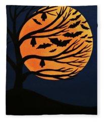 Spooky Bat Tree Fleece Blanket