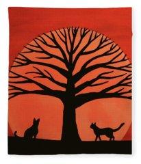 Spooky Cat Tree Fleece Blanket