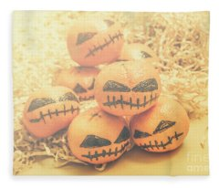 Spooky Halloween Oranges Fleece Blanket
