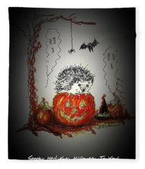 Spooky Hedgehog Halloween Fleece Blanket