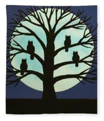 Spooky Owl Tree Fleece Blanket