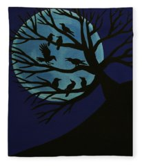 Spooky Raven Tree Fleece Blanket