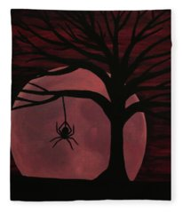 Spooky Spider Tree Fleece Blanket