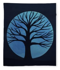 Spooky Tree Blue Fleece Blanket