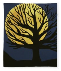 Spooky Tree Yellow Fleece Blanket