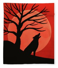 Spooky Wolf Tree Fleece Blanket