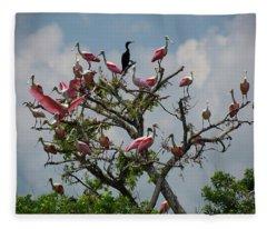 Spoonbill Tree Fleece Blanket