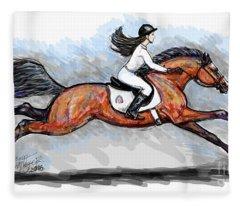 Sport Horse Rider Fleece Blanket