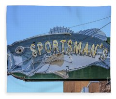 Sportsman Old Vintage Neon Sign Fleece Blanket