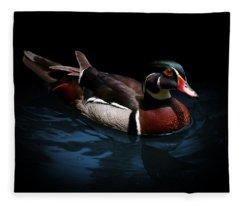 Spotlight On A Wood Duck Fleece Blanket