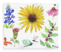 Spring 2017 Medley Watercolor Art By Kmcelwaine Fleece Blanket